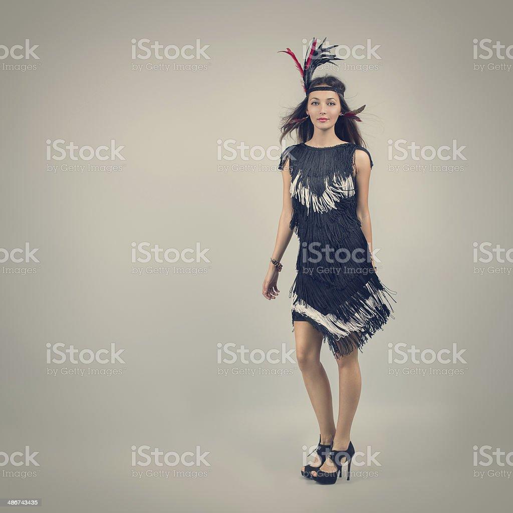 Retro Fashion Woman on Gray Background stock photo