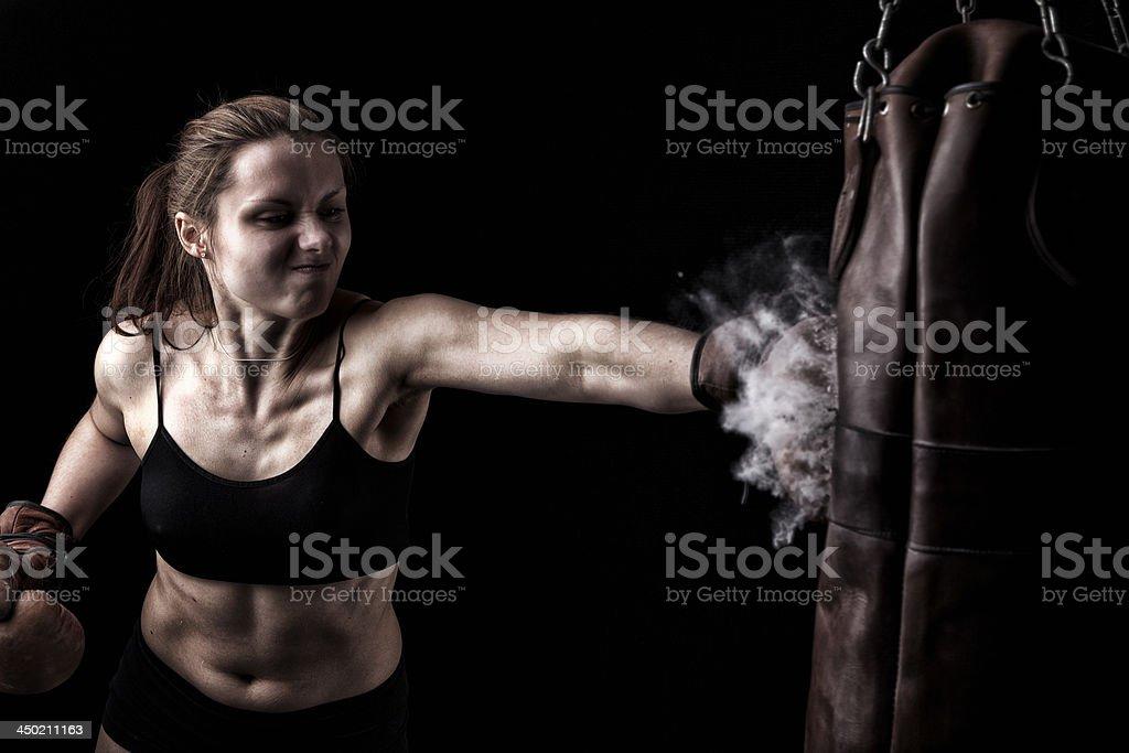 Retro Female Boxer stock photo