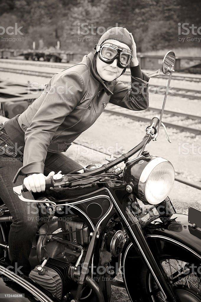 Retro Female Motorcyclist - 1935 Style royalty-free stock photo