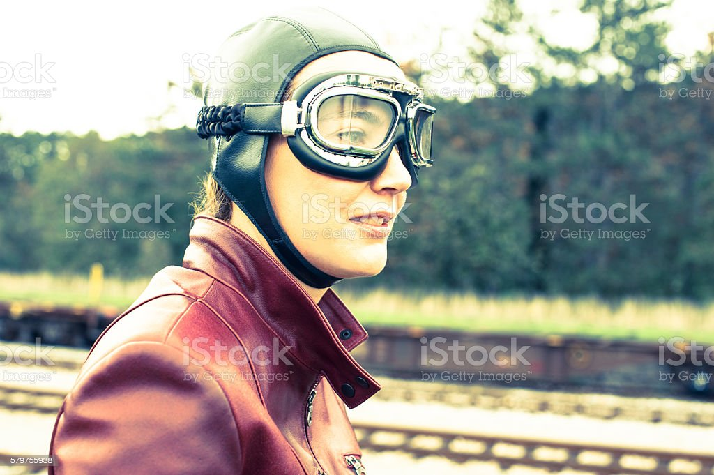 Retro Female Motorcyclist - 1935 Style stock photo