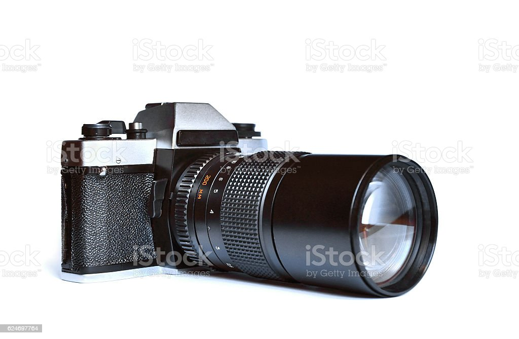 Retro film camera isolated on white stock photo