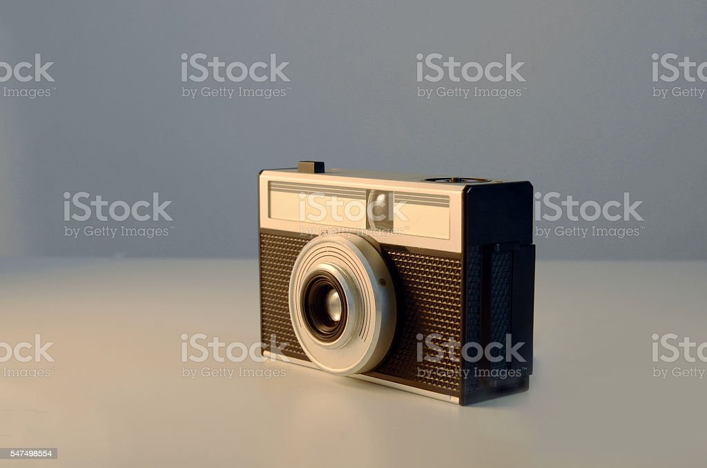 retro film camera stock photo