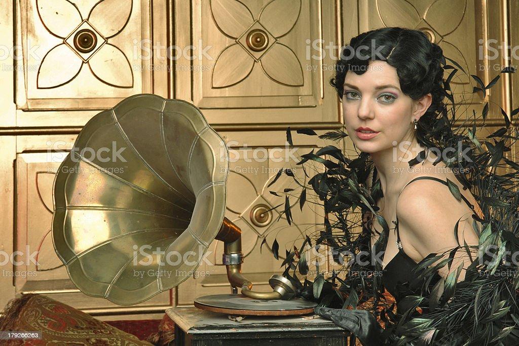 retro flapper girl and gramophone stock photo