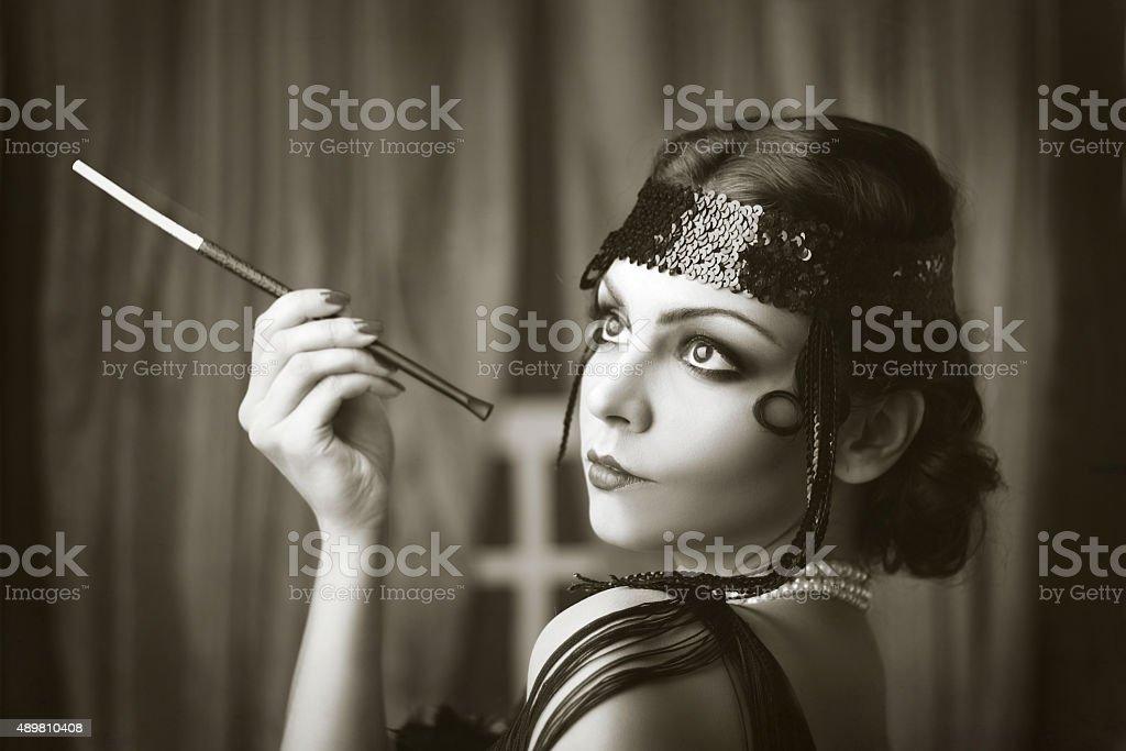 retro flapper style stock photo