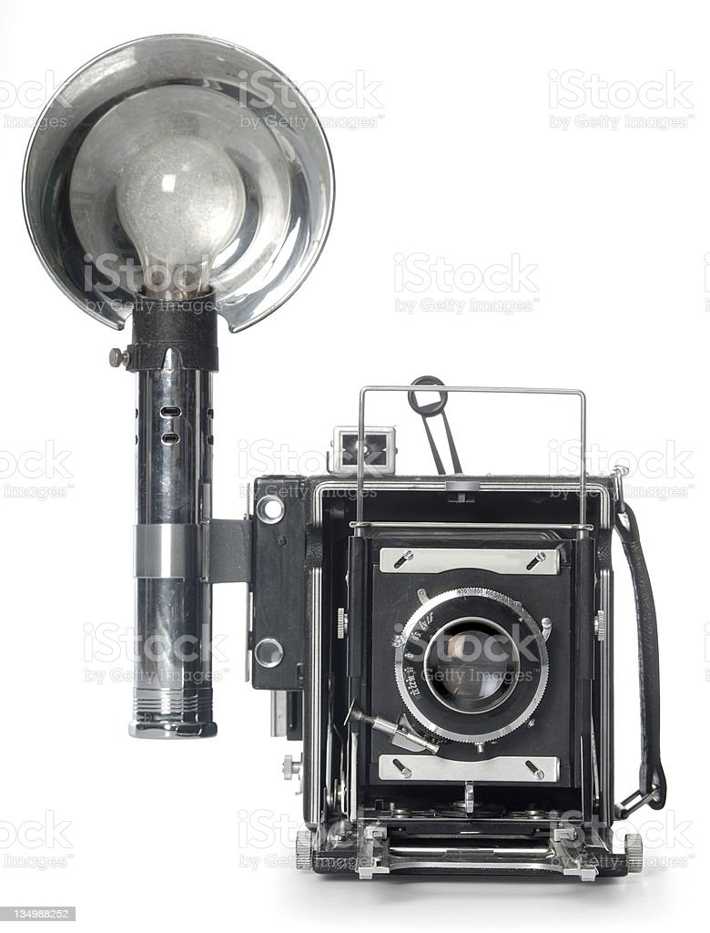 Retro Flash Camera front view stock photo