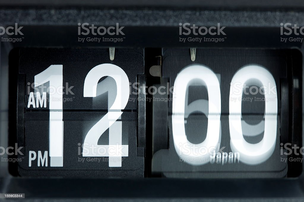 Retro Flip Clock Changing from 11:59 PM to Midnight stock photo