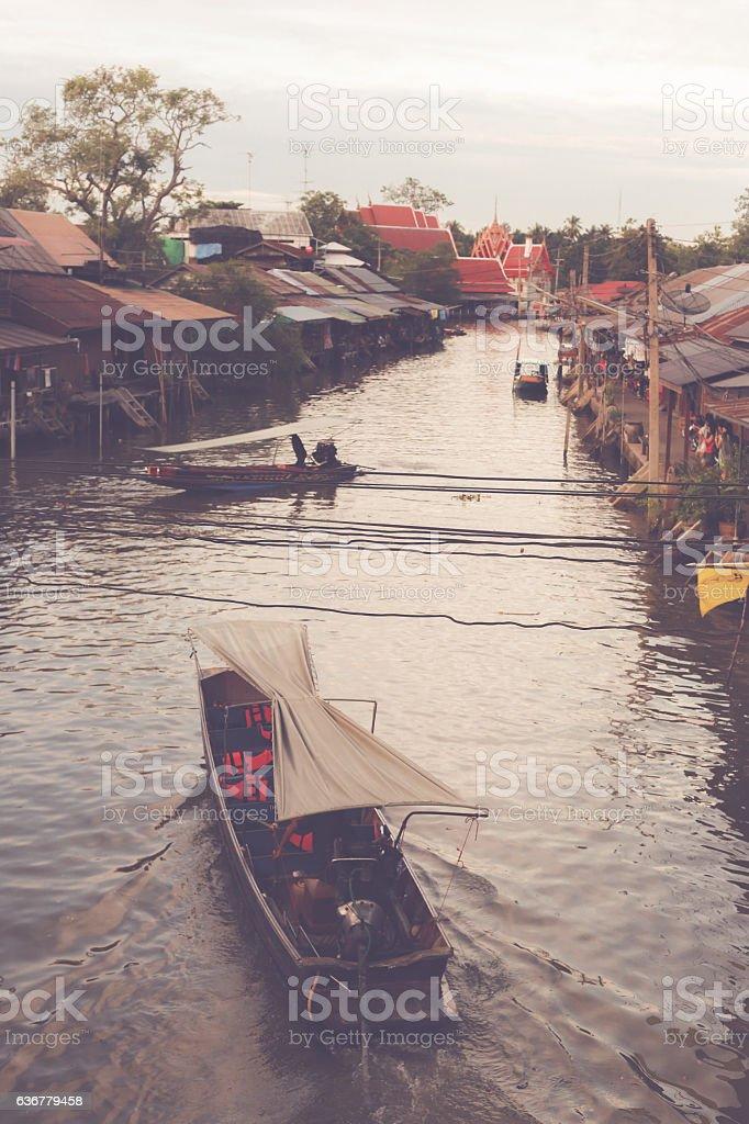 Retro Floating market in Thailand stock photo