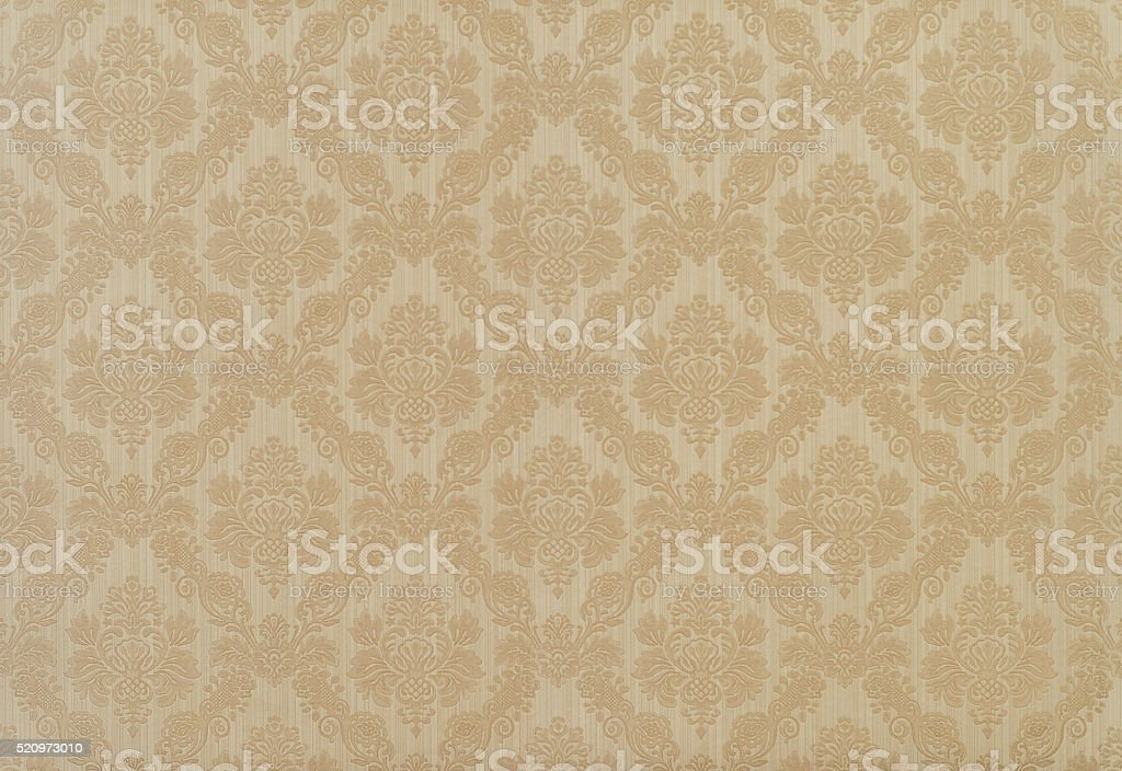 retro floral wallpaper in tan and brown design stock photo