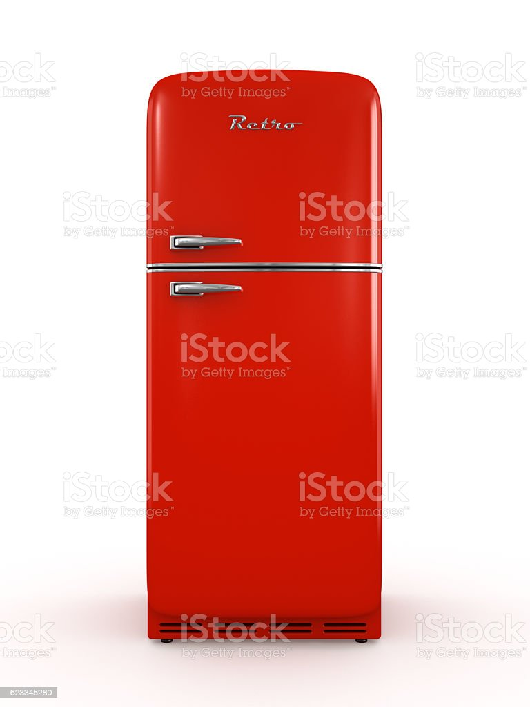 Retro fridge isolated on white background 3D rendering stock photo