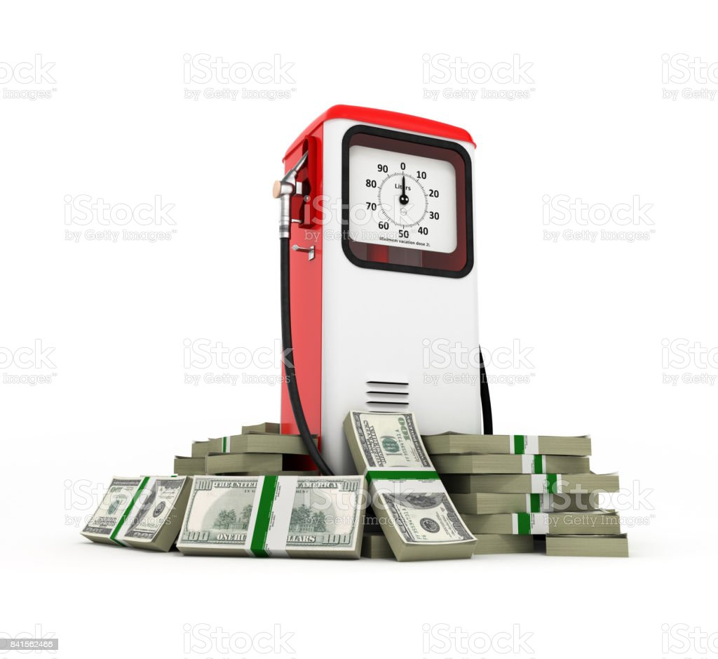 Retro fuel pump surrounded by 100 dollar bankrolls Concept of gasoline prices Retro fuel pump in pile of money american dollar bills isolated on white background 3d stock photo