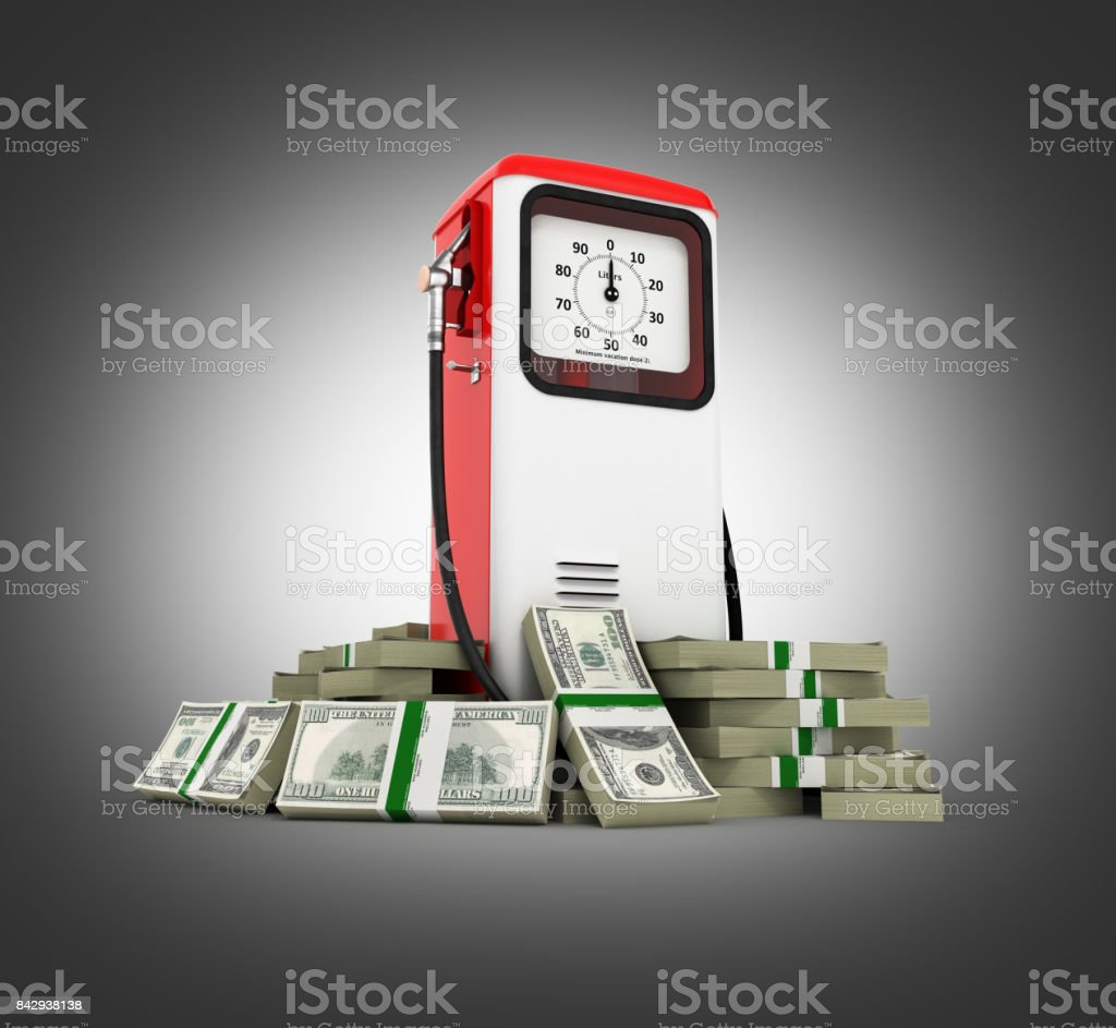 Retro fuel pump surrounded by 100 dollar bankrolls Concept of gasoline prices Retro fuel pump in pile of money american dollar bills isolated on black gradient background 3d stock photo