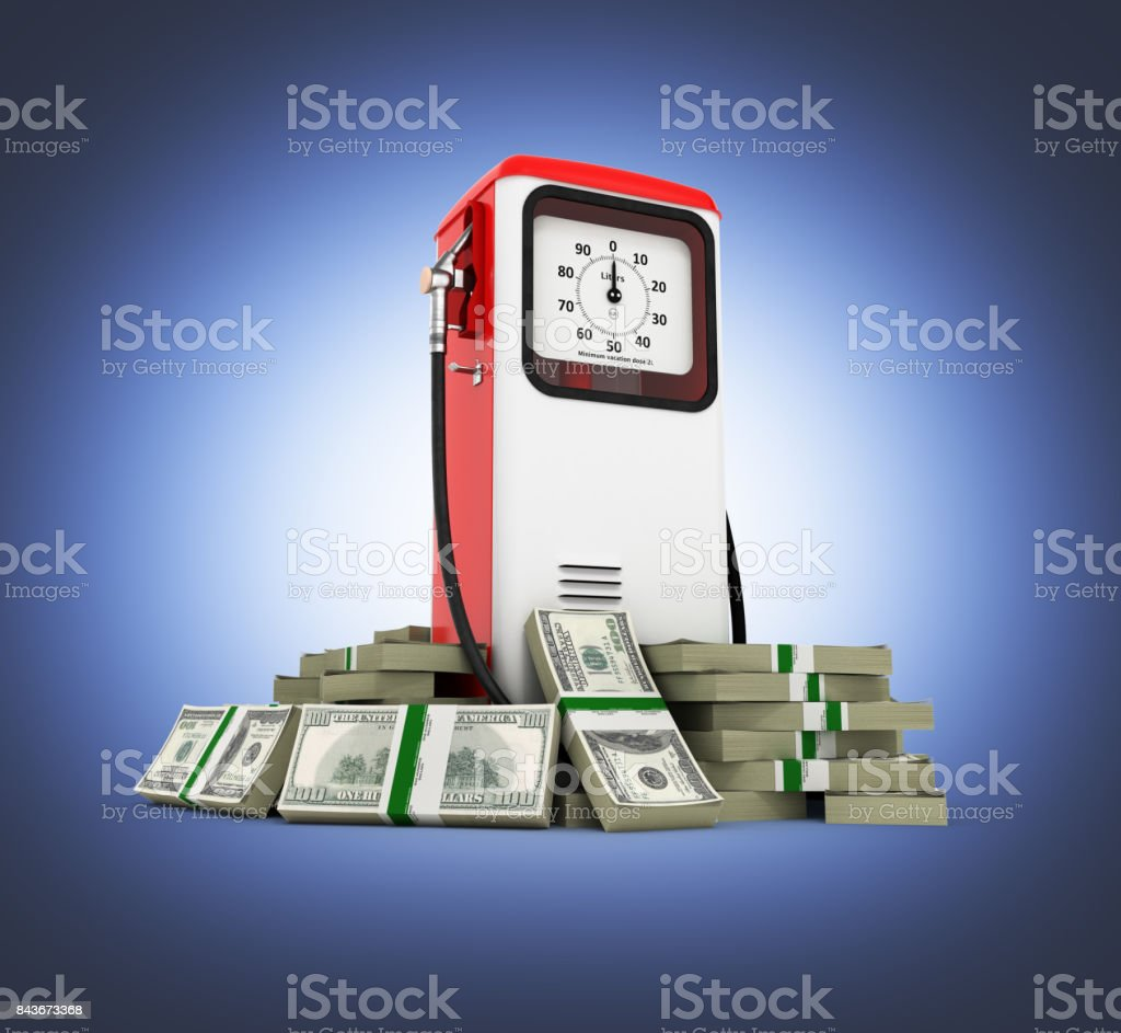 Retro fuel pump surrounded by 100 dollar bankrolls Concept of gasoline prices Retro fuel pump in pile of money american dollar bills isolated on blue gradient background 3d stock photo