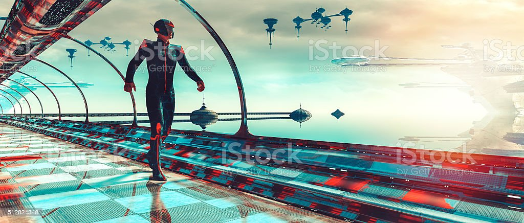 Retro futuristic sci-fi concept of planetary terraforming stock photo