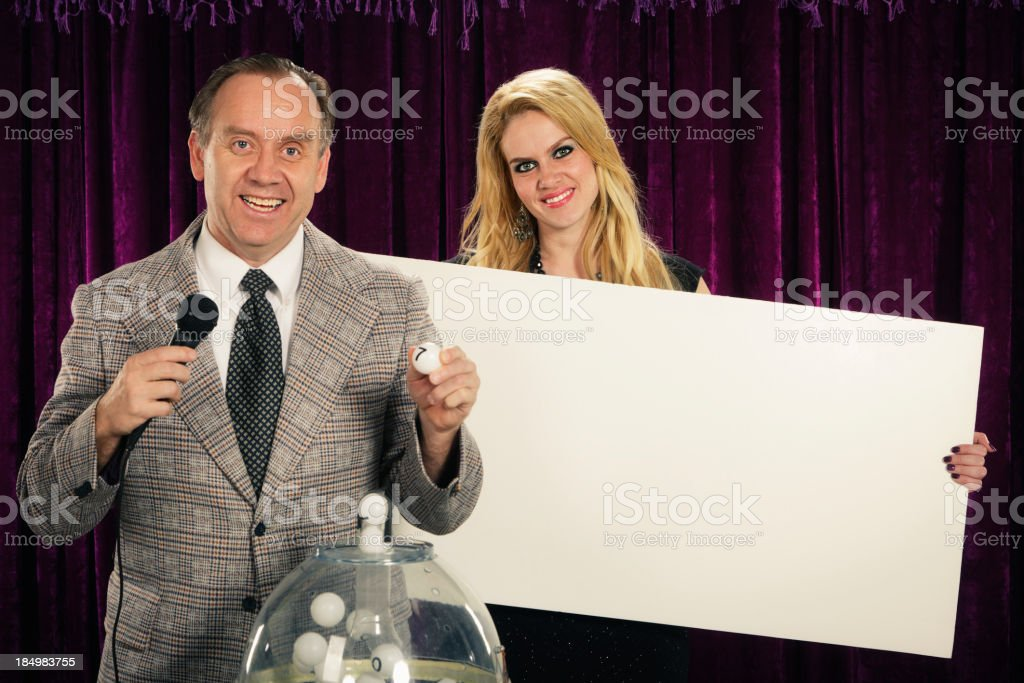 Retro Game Lottery Host and Assistant stock photo