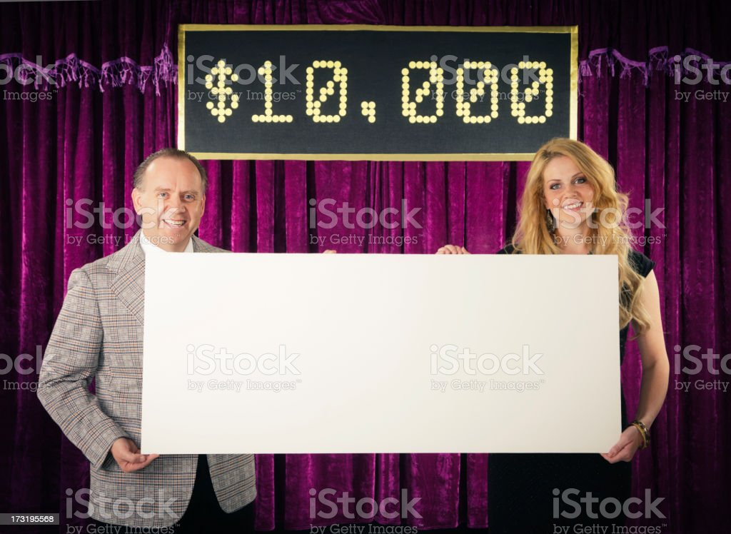 Retro Game Show Host and Assistant stock photo