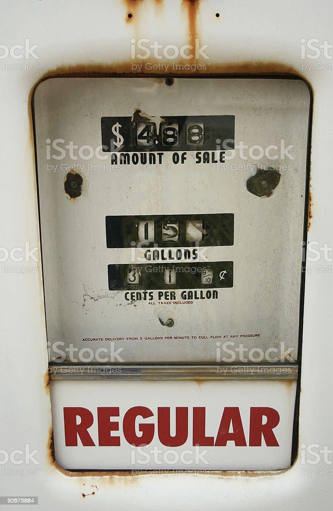 Retro Gas Fuel Pump Display stock photo