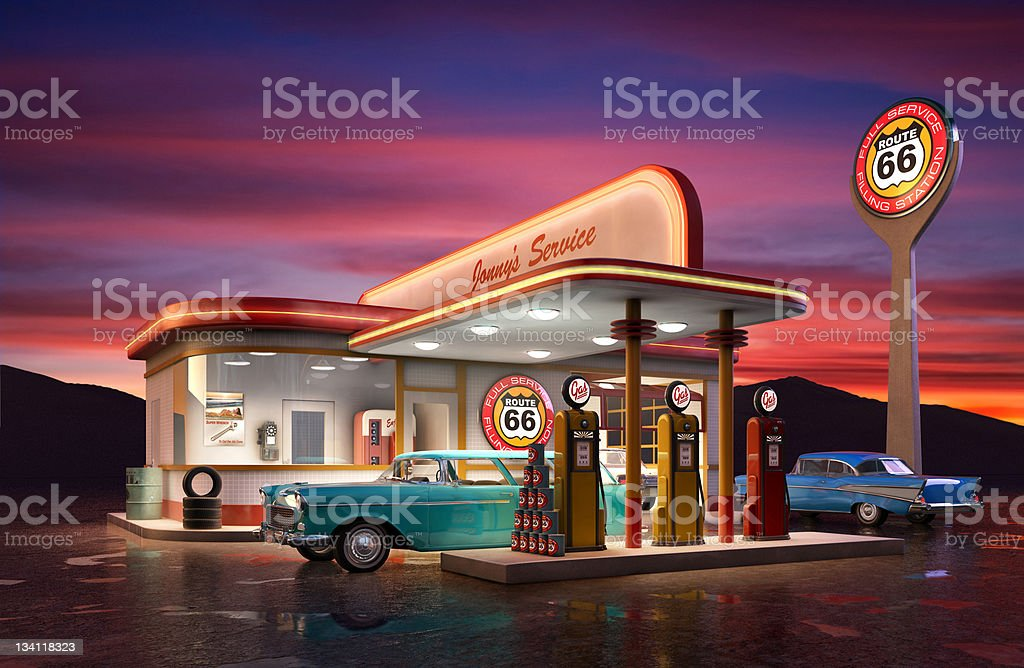 Retro Gas Station stock photo