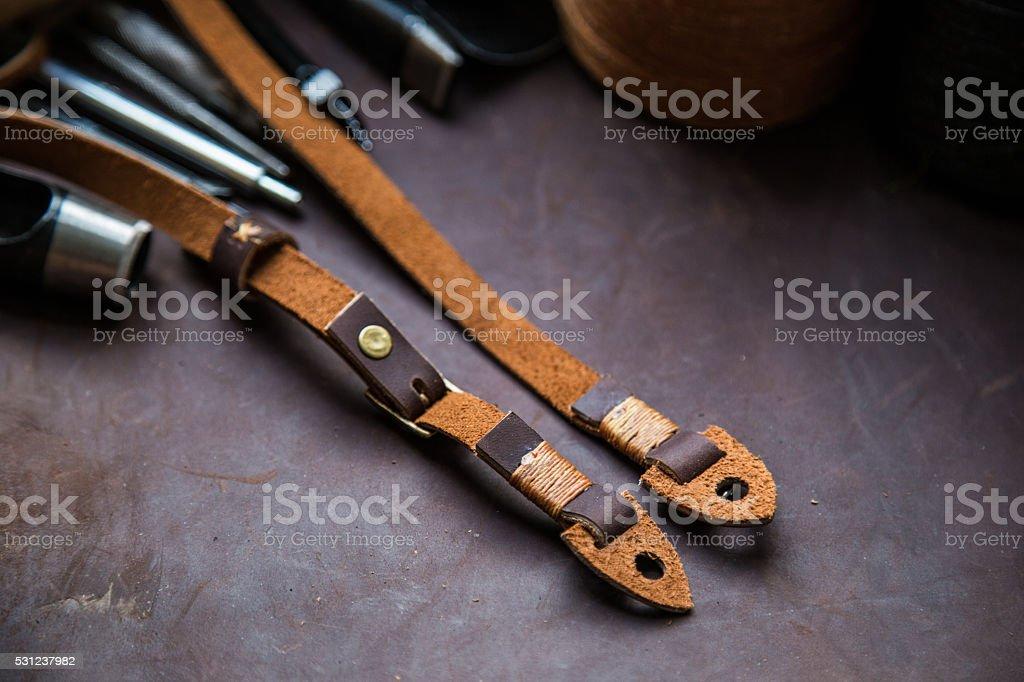 Retro genuine leather camera strap stock photo