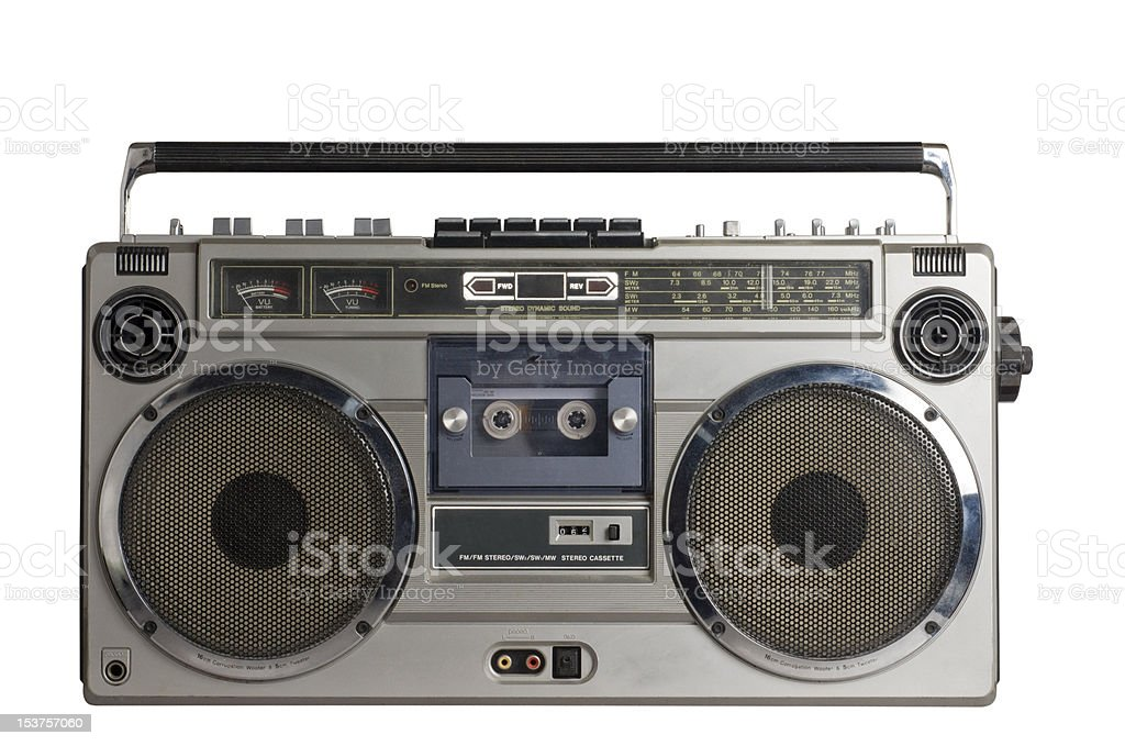 retro ghetto blaster isolated with clipping path stock photo