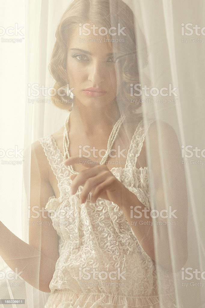 retro girl behind the curtain royalty-free stock photo