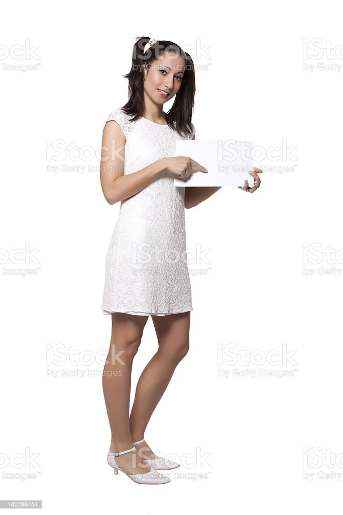 Retro girl in a white dress royalty-free stock photo