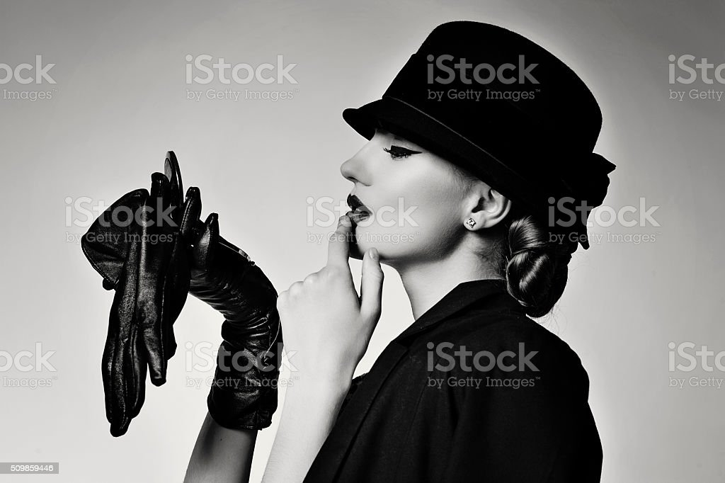 Retro girl in jacket and hat stock photo