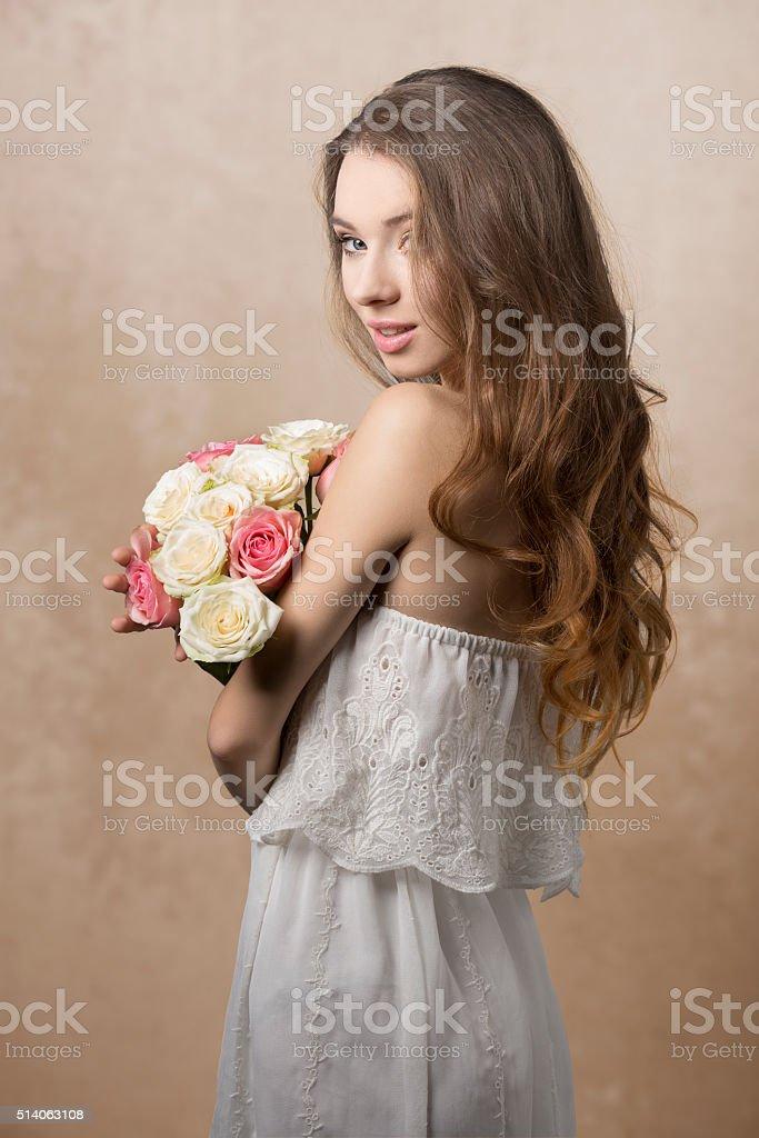 Retro girl stock photo
