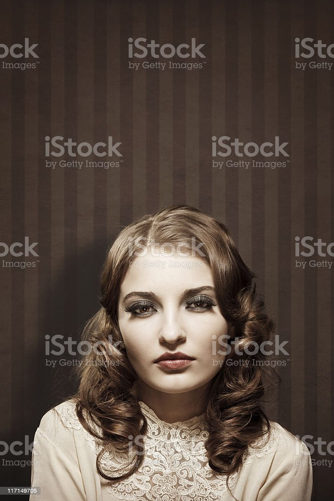 retro girl portrait stock photo