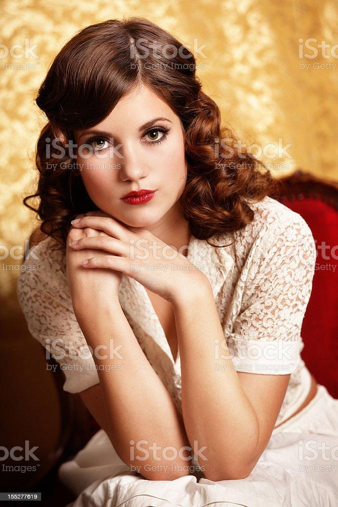 retro girl portrait royalty-free stock photo