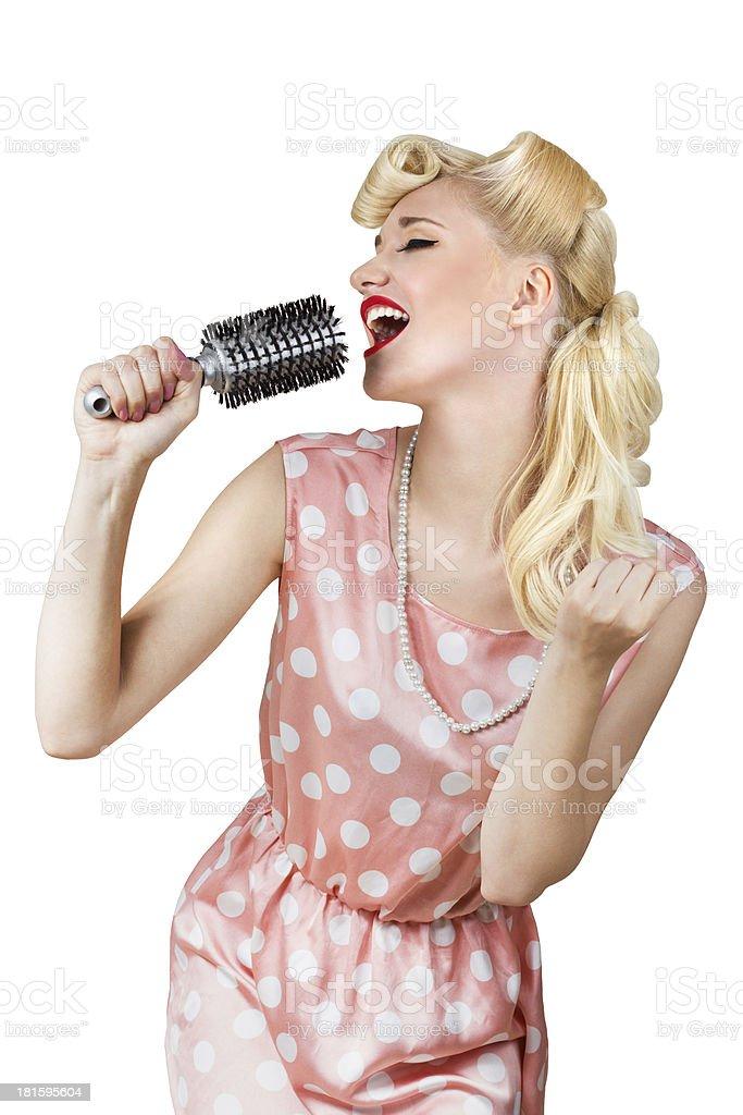 Retro girl singer stock photo