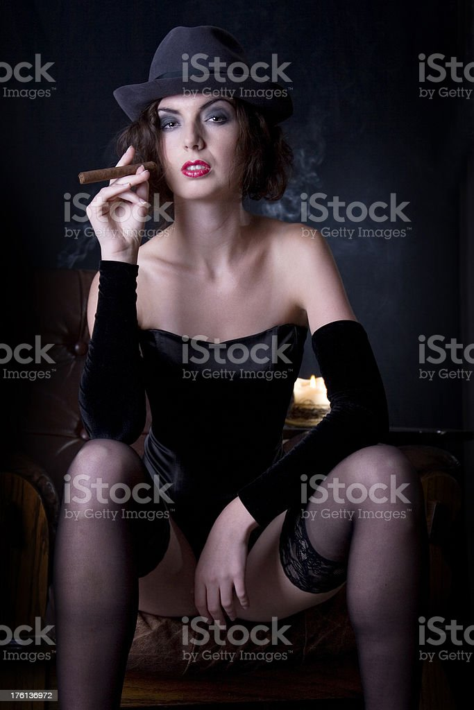 retro girl smoking stock photo