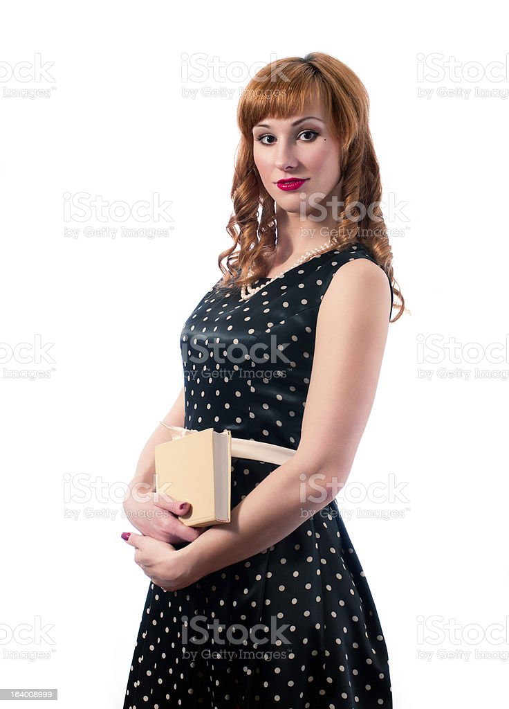 Retro girl with a book in here hand royalty-free stock photo