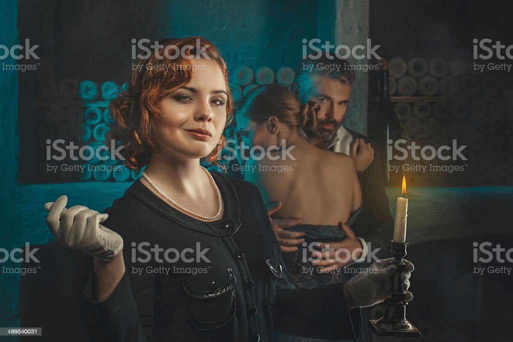 Retro girl with a candle. stock photo