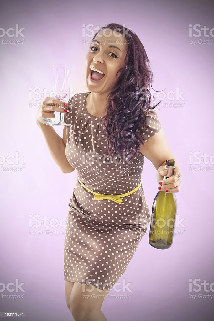 Retro girl with Bottle and glasses stock photo
