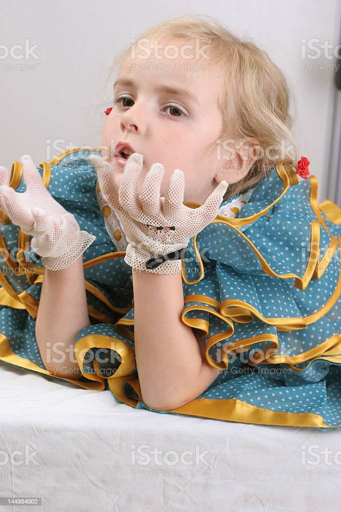 retro girl with gloves royalty-free stock photo
