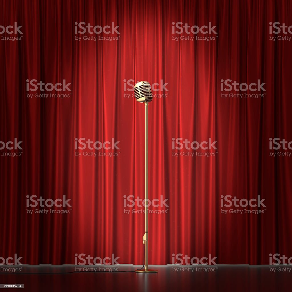Retro gold microphone on red cloth background. 3d illustration stock photo
