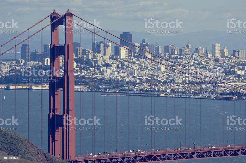 Retro Golden Gate bridge in San Francisco royalty-free stock photo