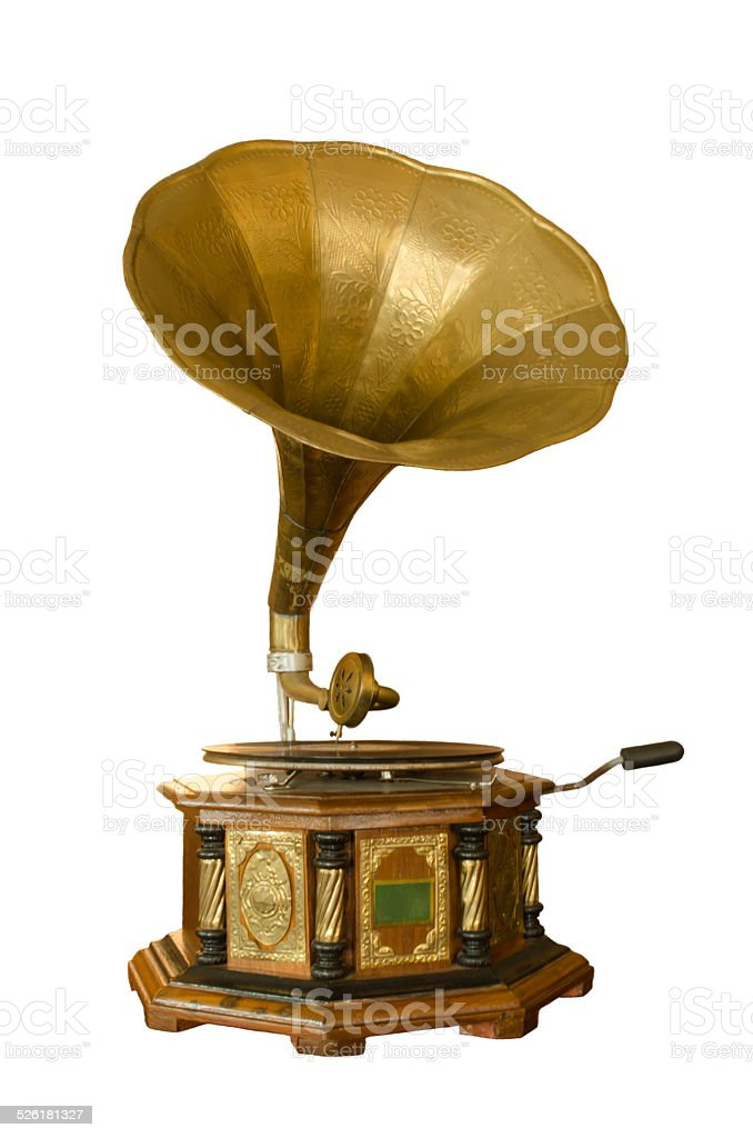 retro gramophone stock photo
