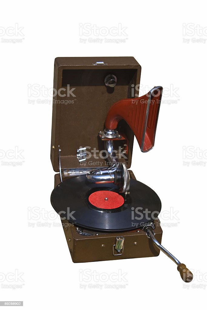 retro gramophone with disc royalty-free stock photo