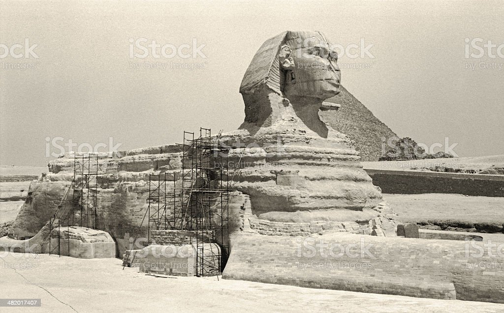 Retro Great Sphinx of Giza royalty-free stock photo