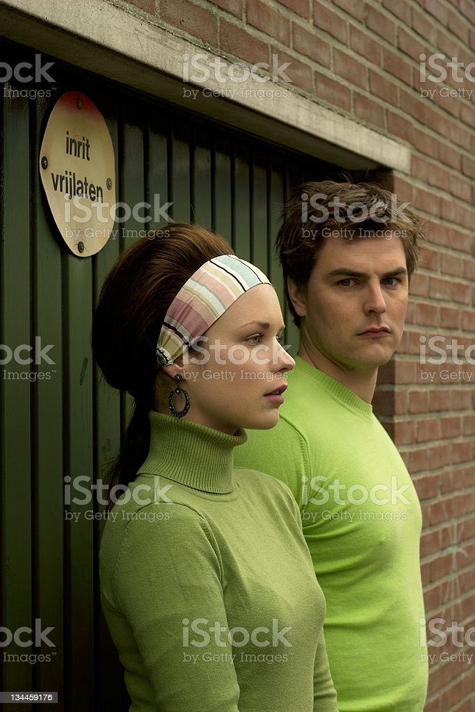 Retro Green Couple royalty-free stock photo