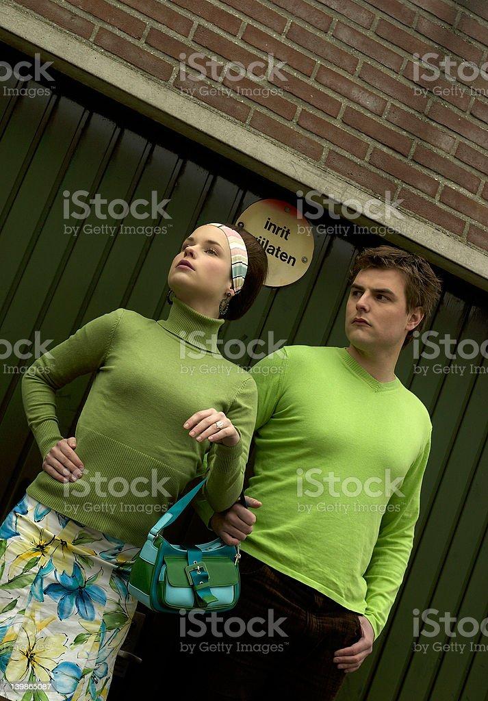 Retro Green Couple stock photo