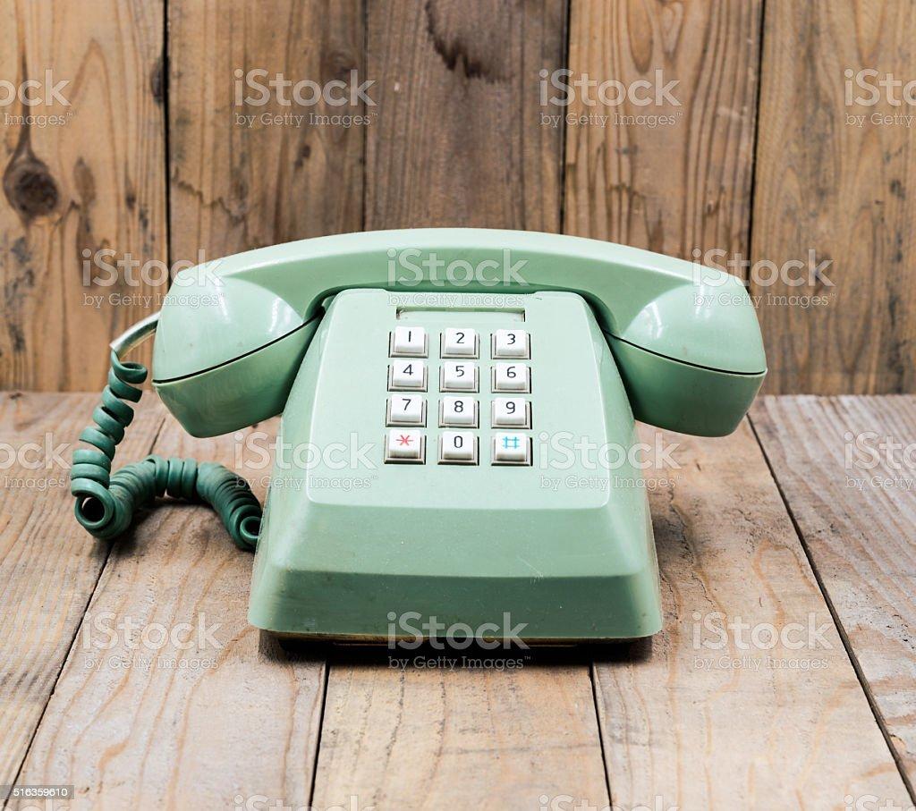 Retro green telephone stock photo