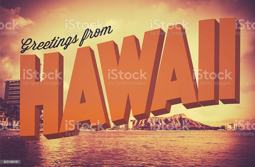 Retro Greetings From Hawaii Postcard stock photo