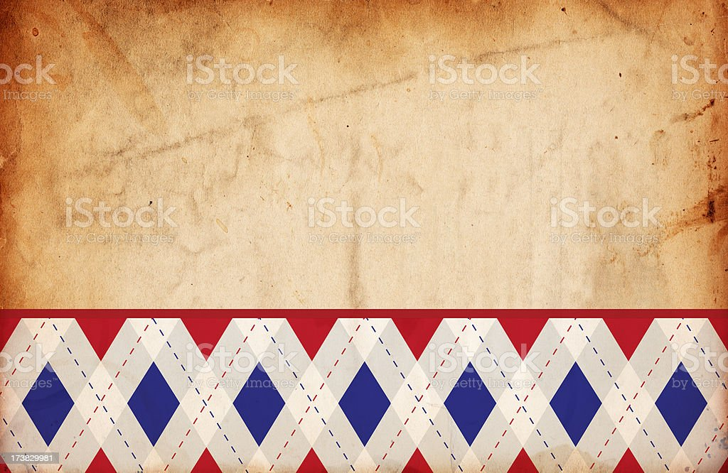 Retro Grunge Argyle Diamond Patriotic Paper Background XXXL royalty-free stock photo