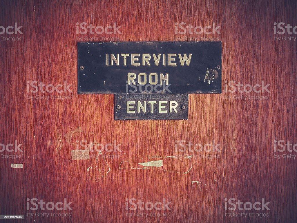 Retro Grunge Interview Room Door stock photo