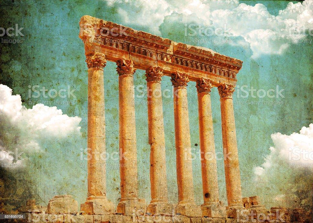Retro grungy style photo. Jupiter's temple, Baalbek, Lebanon stock photo