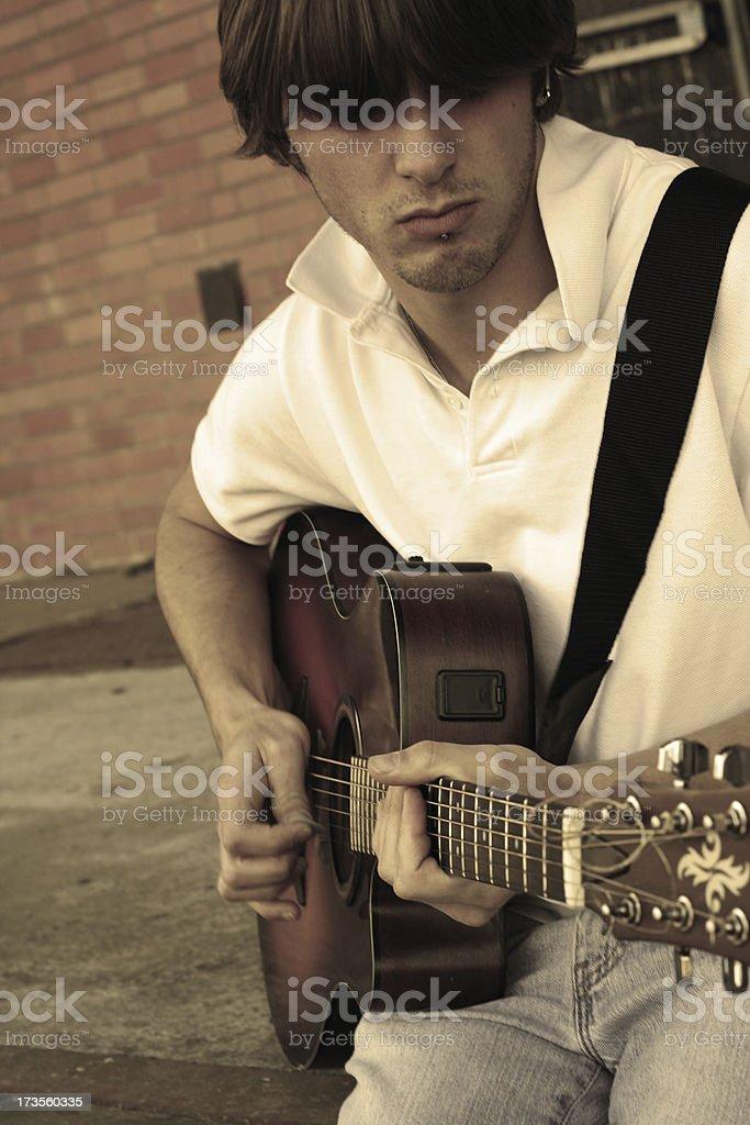Retro Guitarist royalty-free stock photo