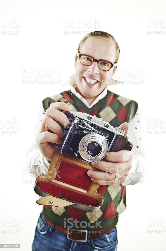 Retro guy with camera stock photo