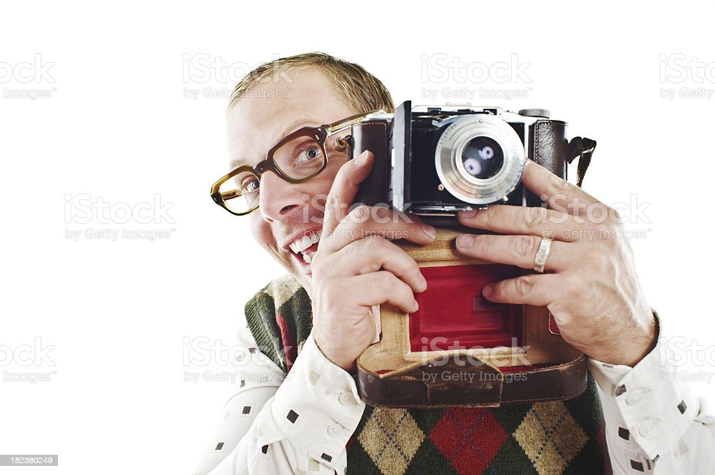 Retro guy with camera royalty-free stock photo